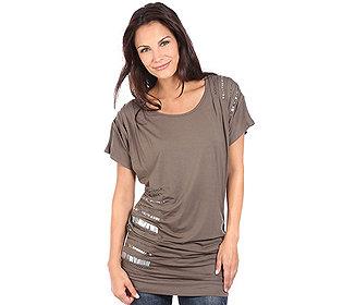 Longshirt Falten-Dekor