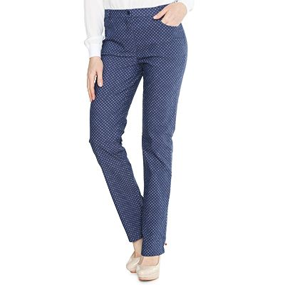 DENIM & CO. Hose 4-Pocket-Style elastische Ware Pünktchen-Druck