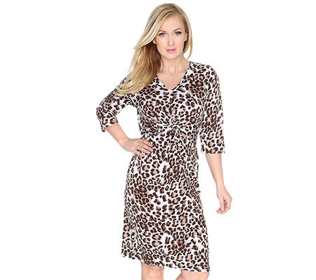 KIM & CO. Brazil-Knit-Jersey Kleid, 3/4-Arm Knotendetail Leo-Druck