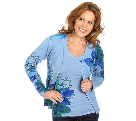 ART & COLOUR Twinset Cardigan & Pullover Liliendruck Perlenstickerei