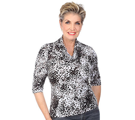 KIM & CO. Brazil-Knit-Jersey Shirt, 3/4-Arm Wasserfallausschnitt Animal-Druck