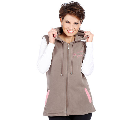 POLARSTERN HOMEWEAR MF Flanell Fleece Damenweste Kapuze Zierstickerei