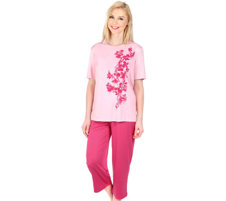 LITTLE ROSE Mikrofaser Pyjama, 1/2-Arm Blumendruck Ziersteine