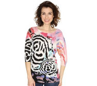 FASHION ART Pullover Fledermausärmel handbemalt