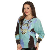 FASHION ART Pullover 1/1-Arm Carribean Breeze Rippbundabschlüsse handbemalt