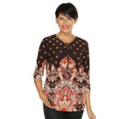 SUSAN GRAVER Liquid Knit Tunika, 3/4-Arm Dekorausschitt Ornamentdruck