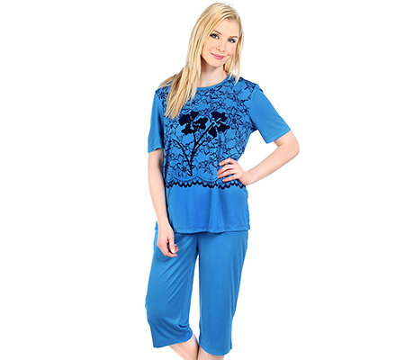 LITTLE ROSE Mikrofaser Pyjama, 1/2-Arm Flockprint- Blume