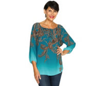 SUSAN GRAVER Feather Weave Bluse 3/4-Arm bedruckt