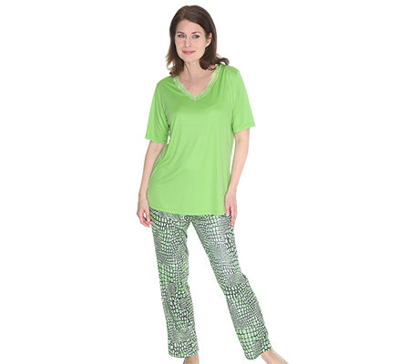 LITTLE ROSE MF Jersey Interlock Pyjama, 1/2-Arm V-Ausschnitt Animal-Druck