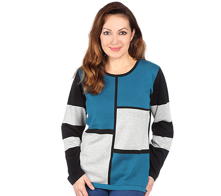 DENIM & CO. Pullover 1/1-Arm Rundhalsausschnitt Colourblocking