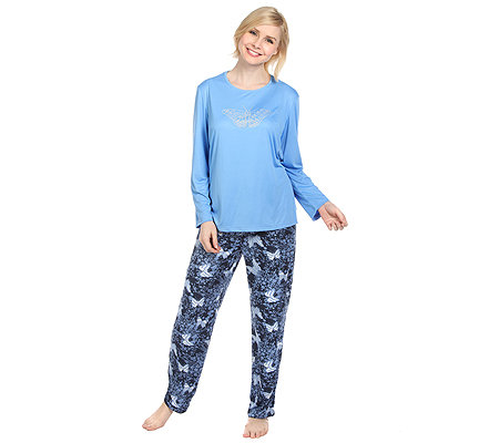 LITTLE ROSE Mikrofaser Pyjama, 1/1 Arm Strassdetail bedruckte Hose