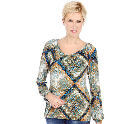 KIM & CO. Brazil-Knit-Jersey Shirt, 1/1-Arm Raglan Ornament-Druck