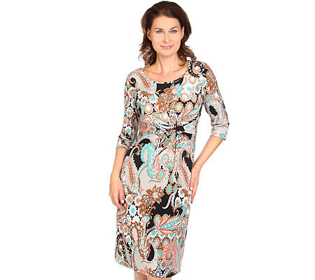 KIM & CO. Brazil-Knit-Jersey Kleid, 3/4-Arm Knoten-Detail Paisley-Druck