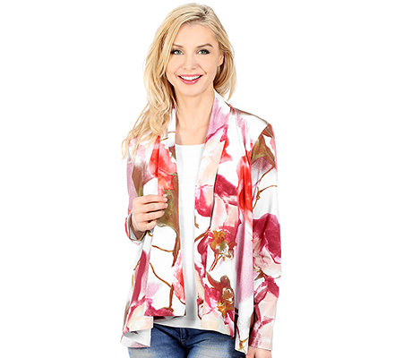 DENIM & CO. 2 in 1 Optik Shirt uni, 1/1-Arm Cardigan Floral-Druck