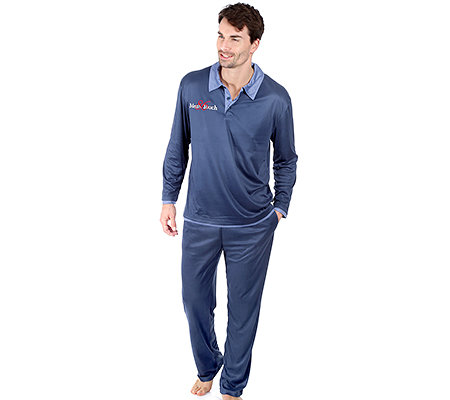 MEN'S TOUCH Mikrofaser Pyjama, 1/1-Arm 2 in 1 Optik Stickerei