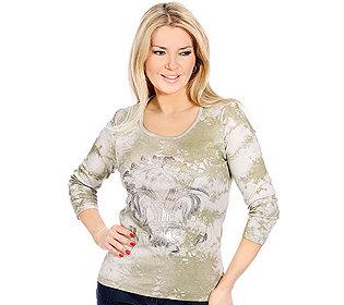 Shirt Rundhals Batik-Look