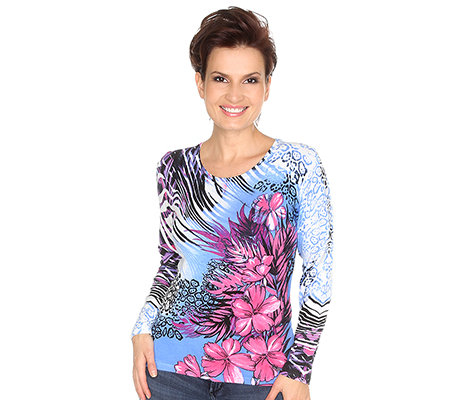 ART & COLOUR Pullover 1/1-Arm Rundhalsausschnitt Hibiskus-Animal-Druck