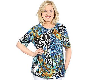 Shirt Zebra-Pfauenprint