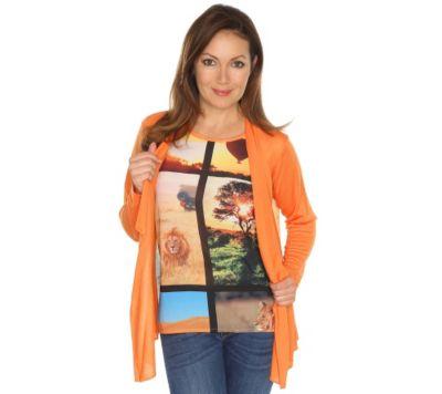 VIA MILANO Twinset Cardigan & Top Materialmix Safari-Druck