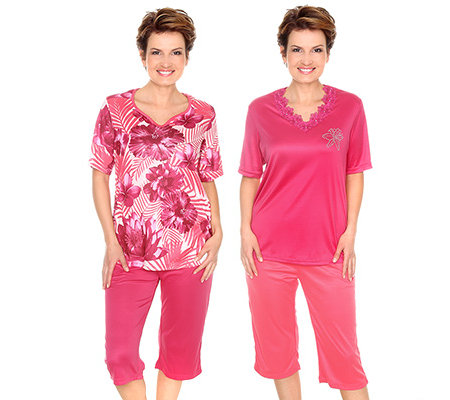 LITTLE ROSE MF Jersey Pyjama, 1/2-Arm Caprihose Doppelpack
