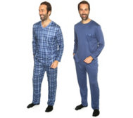 MEN'S TOUCH MF Jersey Interlock Pyjamas, 1/1-Arm Karodruck Doppelpack