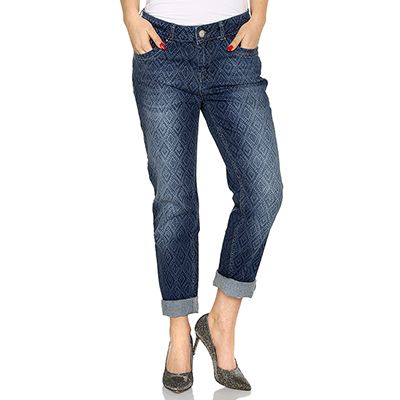 DENIM & CO. Jeanshose 5 Pocket-Style elastisch bedruckt