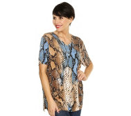 IN-PRINT Shirt, 1/2-Arm Schlangendruck Paillettendekor