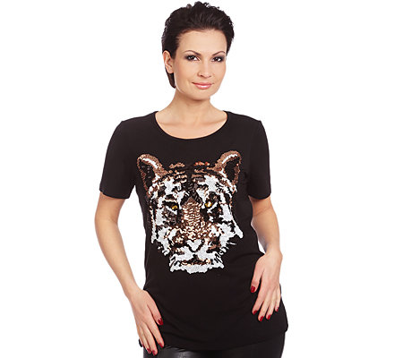 M.ASAM® Shirt 1/2-Arm Tigerkopf aus Pailletten