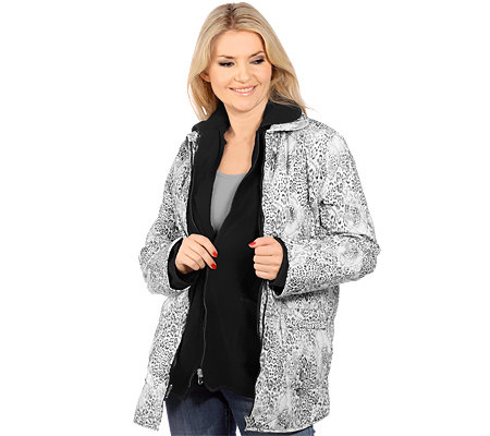 DENIM & CO. 3in1-Jacke 1 Steppjacke 1 Fleecejacke Tierfell-Druck