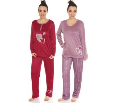 LITTLE ROSE Lovely Graphics Pyjama, 1/1-Arm Mikrofaser Doppelpack