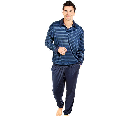 MEN'S TOUCH MF Jersey Interlock Pyjama, 1/1 Arm Poloshirt Bündchen