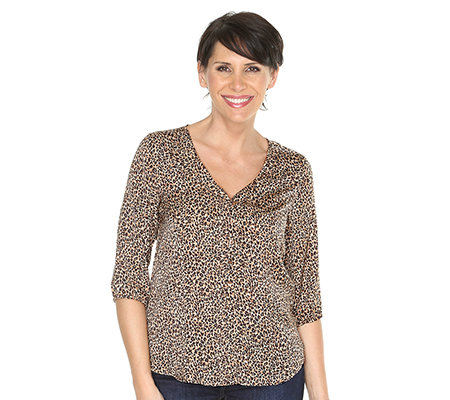 TODAY'S WOMAN Langbluse 3/4-Arm Leo-Druck Seitenschlitze