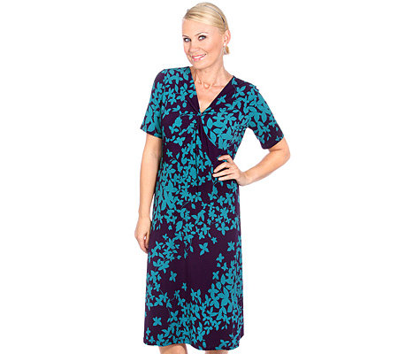 KIM & CO. Brazil Knit Print Kleid 1/2 Arm Raffdetails Blätterdruck