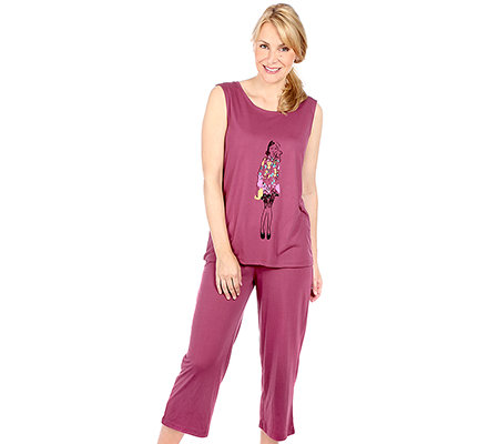 VIA MILANO Loungewear Pyjama, ohne Arm Motivdruck