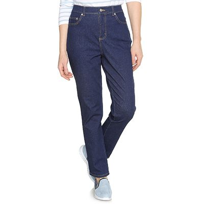 DENIM & CO. Stretch-Jeans 5-Pocket-Form Teildehnbund konische Form