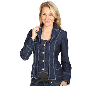Jeans-Blazer Strass-Krone