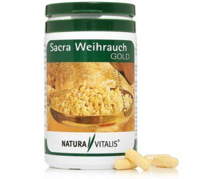 NATURA VITALIS Sacra Weihrauch Gold mit Curcuma 200 Kapseln für 100 Tage