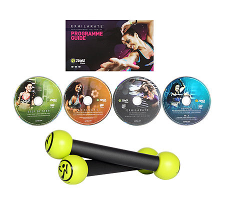 ZUMBA(R) Fitness Exhilarate 4teilige DVD-Kollektion mit Toning Sticks