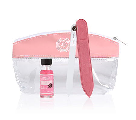 PERFECT FORMULA Pink Gel Set 18ml Pink Gel Coat, Glasfeile & Tasche, 2-tlg.
