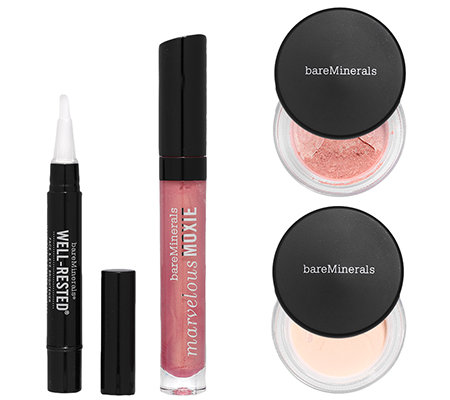 bareMinerals Glow all the Way Makeup Set für Gesicht, Augen & Lippen, 4tlg.