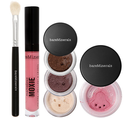 bareMinerals Color Theory, Lidschatten, Rouge, Lipgloss & Pinsel Set 6tlg.