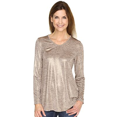 KIM & CO. Shimmer Knit Tunika 1/1 Arm Lurex-Effekt