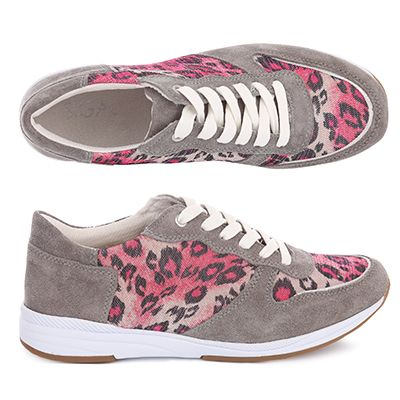 SIGAL STYLE Damen-Sneaker Material-Mix Animal-Optik H-Weite