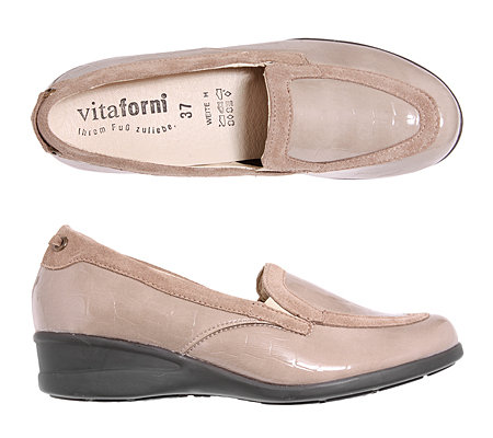 VITAFORM Damenslipper Krokostretch und Velours Keilabsatz ca. 4cm