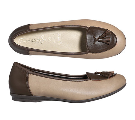 THORSTEN S. Vitaform Slipper Leder/Stretch Zierquasten