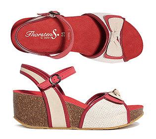 Sandalette Leder & Textil