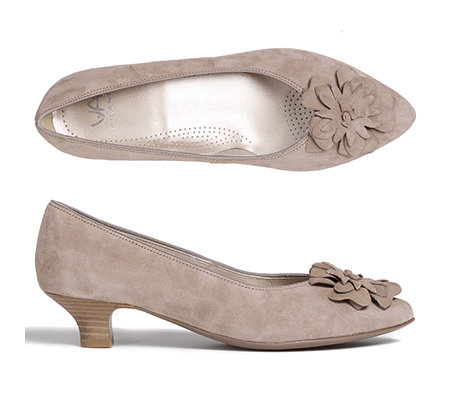 VIA MILANO Pumps Veloursleder Blüten-Applikation Absatz ca. 3,5cm