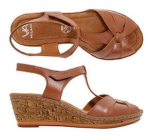 Keil-Sandalette Leder