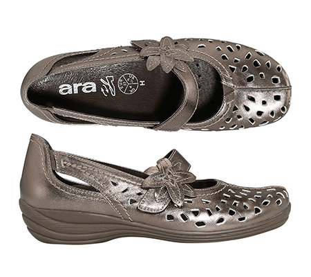 ARA Damen-Slipper echt Leder H-Weite Metallic-Look