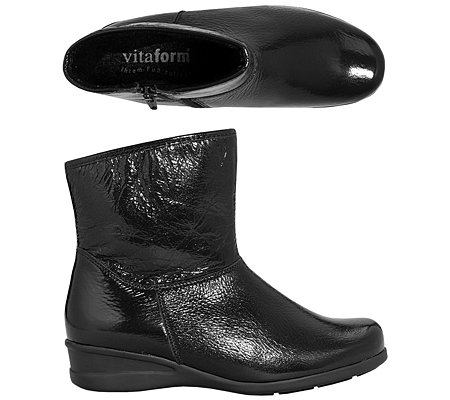 VITAFORM Damen-Stiefelette Hirschleder Crashlack-Optik Shock Absorber